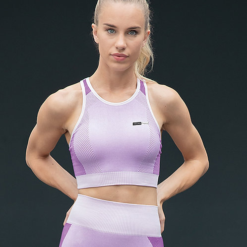 Vegan Workout Women's Seamless Panelled Crop Top in 3 colours up to size 20 with subtle vegan logo from Vegan Happy Clothing