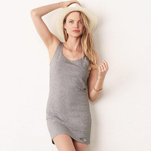 Vegan Women's Jersey Tank Dress with subtle vegan logo to the hem from Vegan Happy Clothing