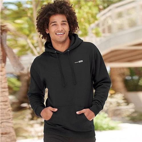 Vegan Men's Heavyweight 4000 Hooded Sweatshirt with subtle vegan logo from Vegan Happy Clothing