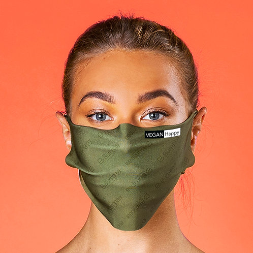 Vegan Antiviral Face Mask in olive with stylish Vegan Happy logo to the front, comes in 6 colours