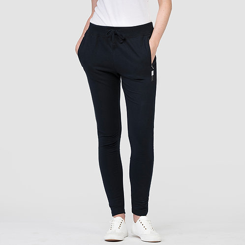 Vegan joggers women's shown in black with vegan logo near the pocket, from Vegan Happy Clothing
