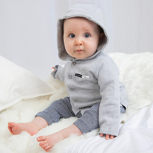 100% organic cotton vegan babies hoodie in pale heather stripe