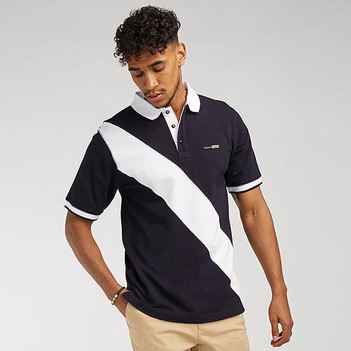 Vegan Men's Women's Diagonal Stripe Piqué Polo Shirt from Vegan Happy Clothing with subtle vegan logo