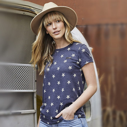 Vegan Women's Eco Jersey Ideal Tee with stars pattern with subtle vegan logo from Vegan Happy Clothing