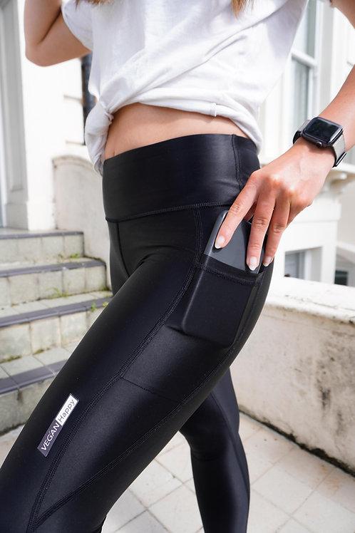 Vegan Women's High Shine Leggings with handy mobile phone pocket from Vegan Happy Clothing