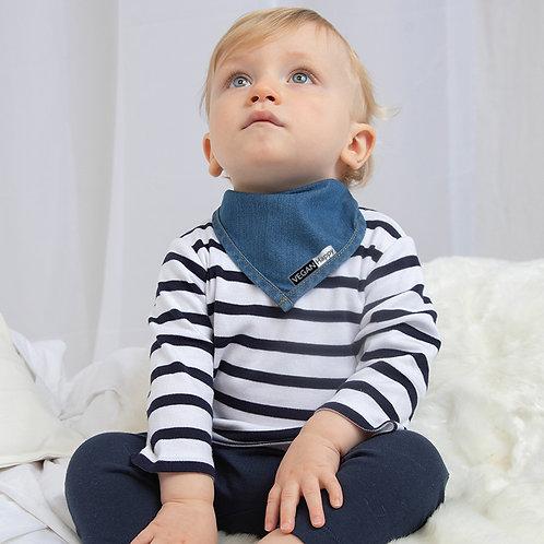 vegan baby bib, 100% cotton, denim with subtle vegan happy logo
