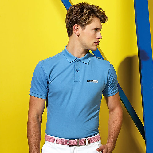 Vegan Polo Shirt Men's in blue with subtle Vegan Happy logo to the breast, perfect vegan lounge wear and casual