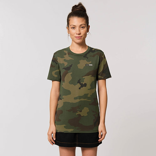 Vegan Creator AOP Unisex Camo T-Shirt with subtle vegan logo from Vegan Happy Clothing