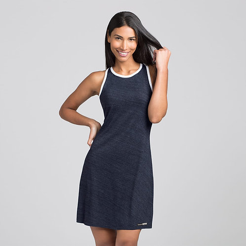Vegan Women's Ringer Dress with subtle logo to the hem from Vegan Happy Clothing in 4 colours