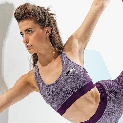 Vegan Gym Bra Crop Top Women's TriDri Sports Wear Bra in purple with subtle vegan logo from Vegan Happy