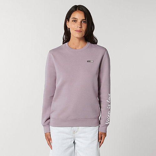 Vegan women's Vegan is love long sleeve sweatshirt from Vegan Happy Clothing with subtle vegan logo