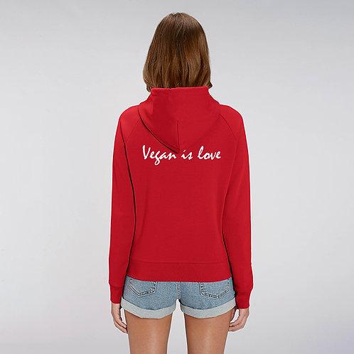 Vegan hoodie, luxury vegan hoodie with vegan is love messaging on the back from Vegan Happy Clothing
