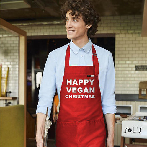 Vegan Christmas apron from Vegan Happy Clothing in red