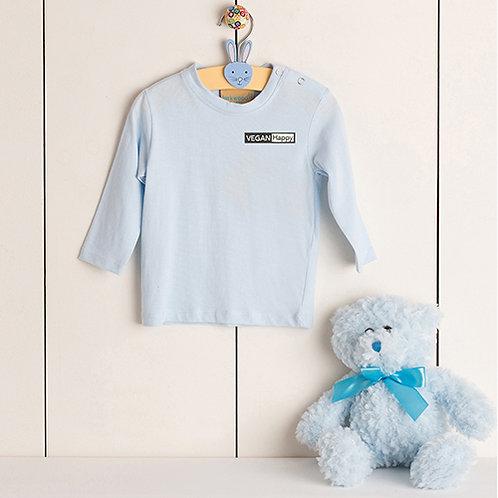 Vegan Baby Long Sleeve T-Shirt with subtle vegan logo in 9 colours