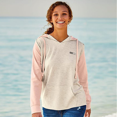 Vegan Women's French Terry Hooded Pullover with Colorblock Sleeves with subtle vegan logo from Vegan Happy Clothing