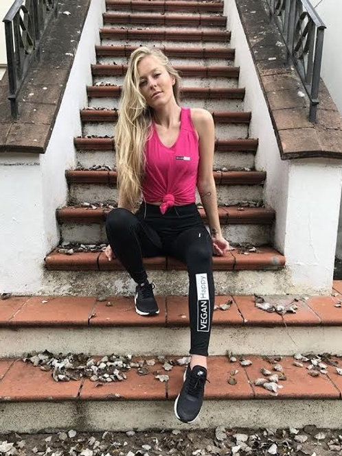 Vegan gym leggings women's or lounge wear leggings from Vegan Happy, with fluorescent strips for visibility