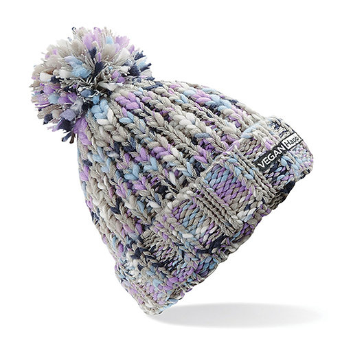Vegan beanie - twister pom pom beanie in lavender twist with subtle vegan logo from Vegan Happy Clothing