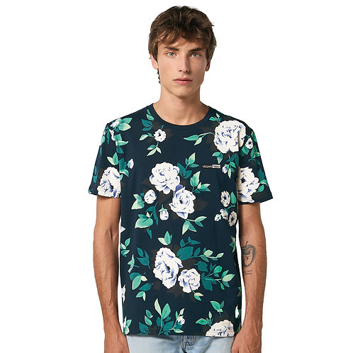 Vegan Creator AOP Unisex Floral T-Shirt from Vegan Happy Clothing with subtle vegan logo