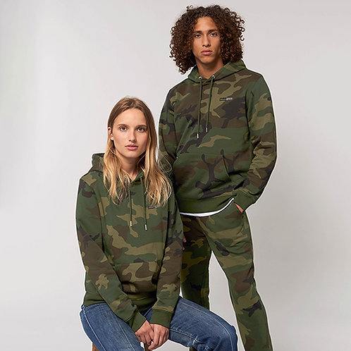 Vegan Hoodie unisex camouflage with luxury embroidered vegan logo to the front