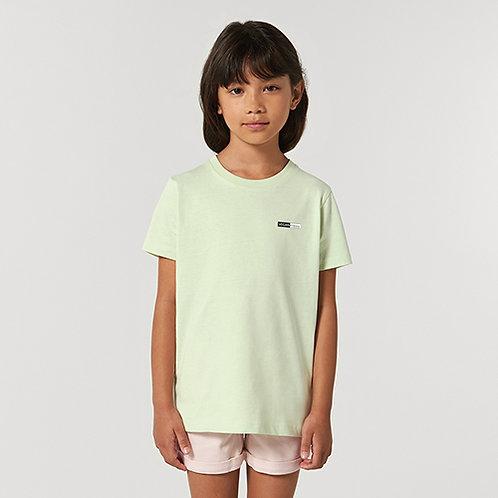 Vegan Kids Creator T-Shirt with subtle logo from Vegan Happy Clothing shown in stem green