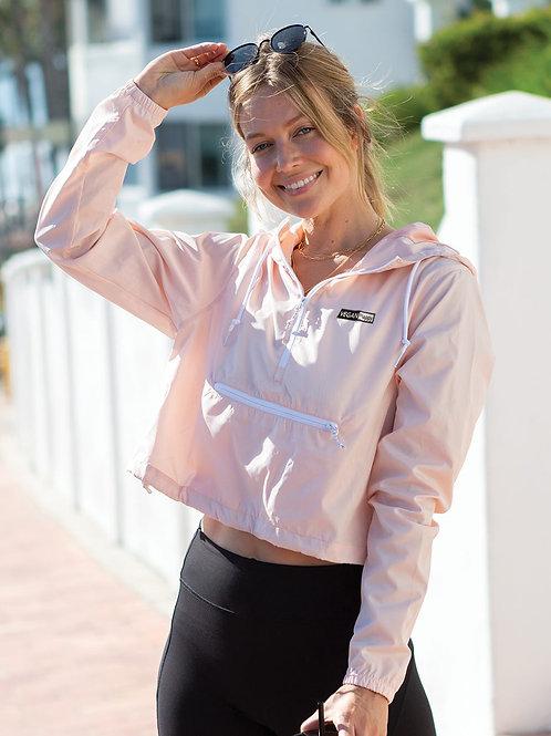 Vegan Women's Lightweight Pullover Quarter Zip Crop Windbreaker from Vegan Happy Clothing