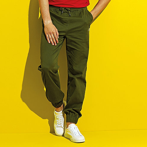 Vegan Men's Twill Chino Joggers in 3 colours with subtle logo from Vegan Happy Clothing