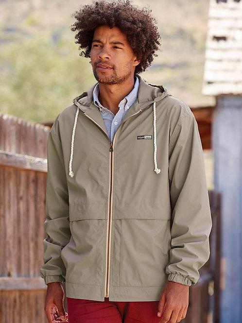 Vegan Men's Vintage Hooded Rain Jacket with subtle vegan logo from Vegan Happy Clothing