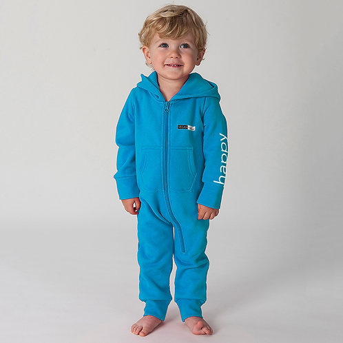 vegan onesie for babies and toddlers, shown here in blue
