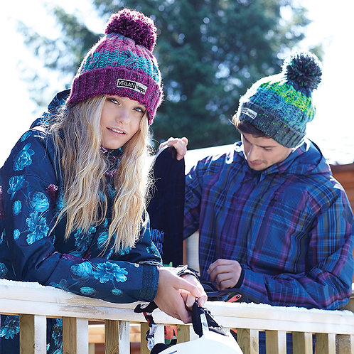 Vegan bobble hats with oversized pom pom, shown from the front, unisex