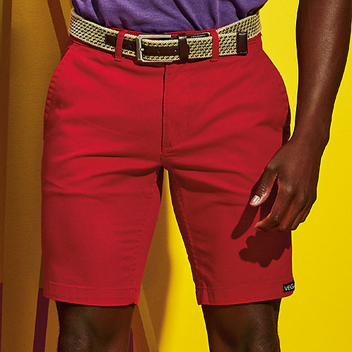 Vegan Shorts Men's Chinos shown in red, 100% cotton from Vegan Happy