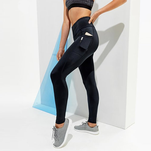 Vegan Women's High Shine Leggings with subtle vegan logo from Vegan Happy Clothing