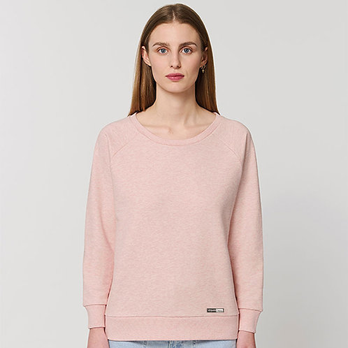 Vegan Sweatshirt Stella Dazzler relaxed fit with subtle vegan logo to the hem from Vegan Happy Clothing in Canyon Pink