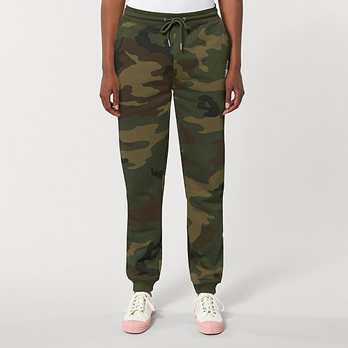 Vegan unisex camo joggers with subtle vegan logo from Vegan Happy Clothing