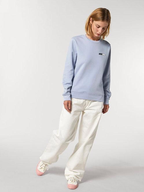 Vegan Sweatshirt Changer Unisex in serene blue with subtle vegan logo from Vegan Happy Clothing