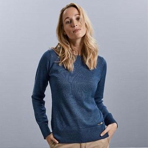 Vegan women's jumper crew neck with subtle vegan logo from Vegan Happy Clothing