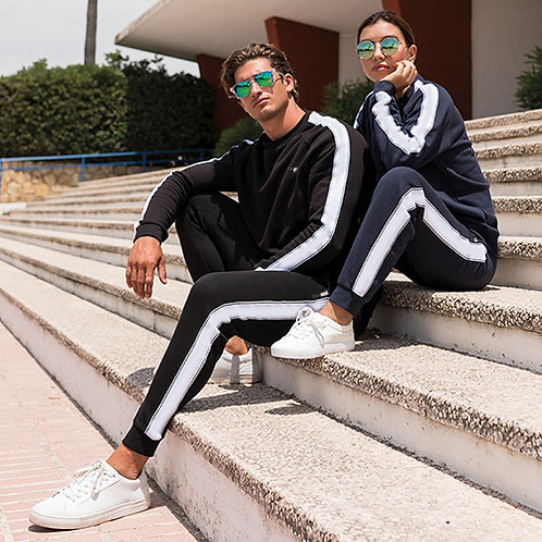 Vegan UNISEX Contrast Joggers in black with white contrast with subtle vegan logo fromVegan Happy Clothing