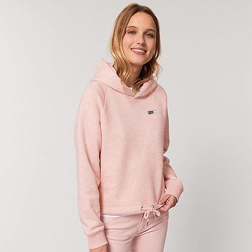 Vegan hoodie lounge wear hoodie from Vegan Happy Clothing, shown in pale pink with subtle vegan logo to the breast