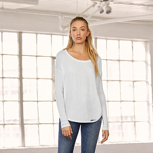 Vegan Women's Flowy long Sleeve T-shirt With 2x1 Sleeves with subtle vegan logo from Vegan Happy Clothing