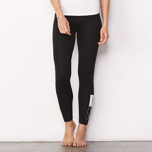 Vegan Women's Leggings with larger vegan logo up the leg from Vegan Happy Clothing
