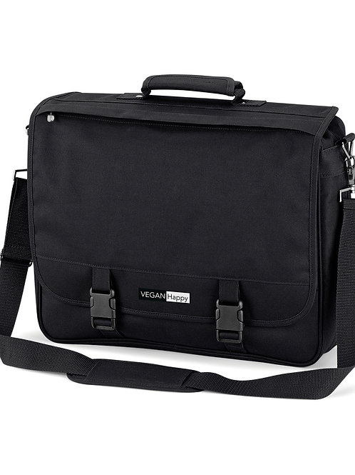 Vegan Portfolio Briefcase in 2 colours with subtle vegan logo from Vegan Happy Clothing