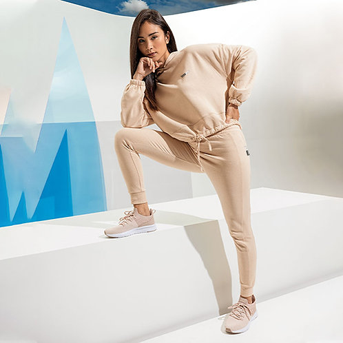 Vegan joggers TriDri fitted joggers from Vegan Happy lounge wear Clothing, shown in nude
