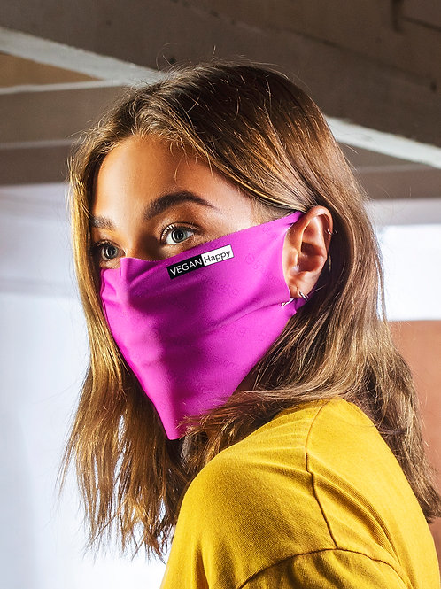 Vegan Face Mask Antiviral in Fuchsia, kills viruses within 2 hours with subtle Vegan Happy logo to the side