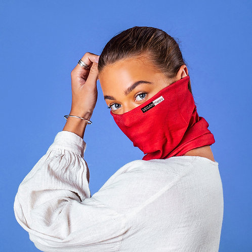 Vegan face covering antiviral snood in 5 colours from Vegan Happy Clothing shown in red