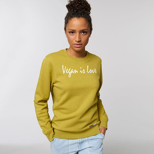 Vegan Sweatshirt 'Vegan is Love' or 'Vegan Happy' from Vegan Happy Clothing in 19 colours