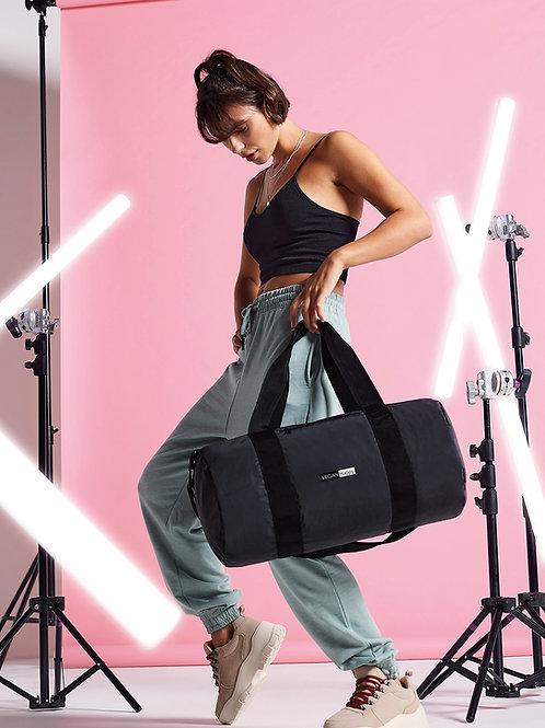 Vegan Reflective Barrel Bag with subtle vegan logo from Vegan Happy Clothing