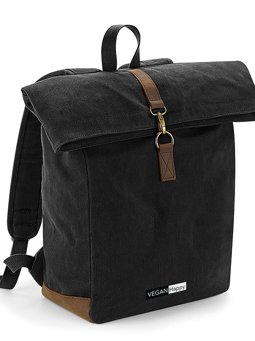 Vegan Heritage Waxed Canvas Backpack with vegan subtle logo from Vegan Happy Clothing