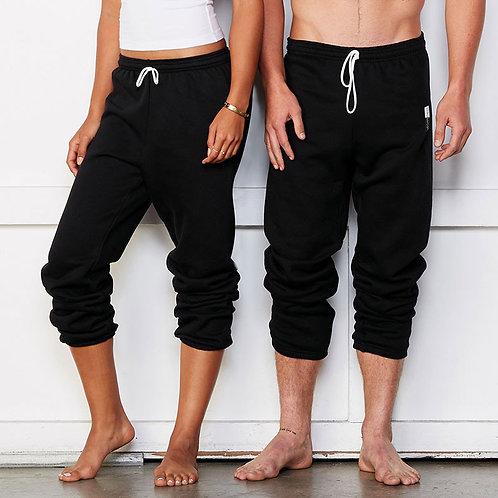 Vegan loungewear scrunch jogging pants unisex styling in two colours with subtle Vegan Happy Logo