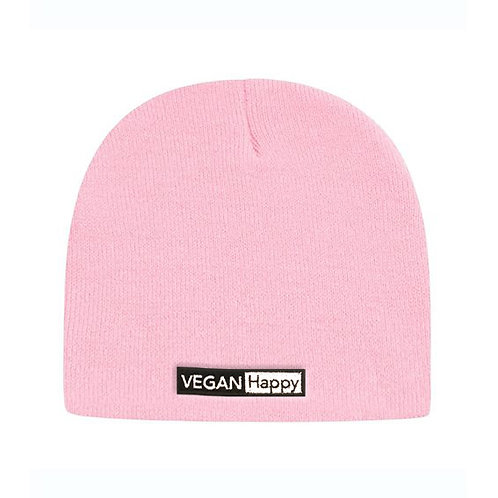 """Vegan Beanie 8 1/2"""" with subtle logo in 10 colours from Vegan Happy Clothing"""