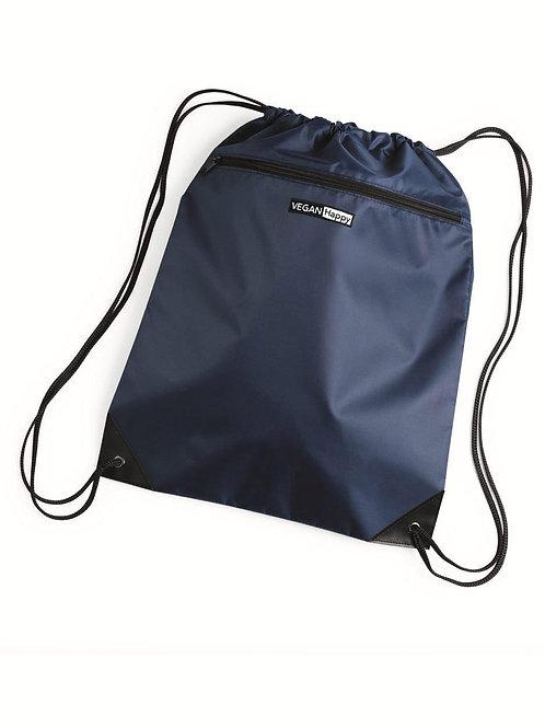 Vegan Zippered Drawstring Backpack
