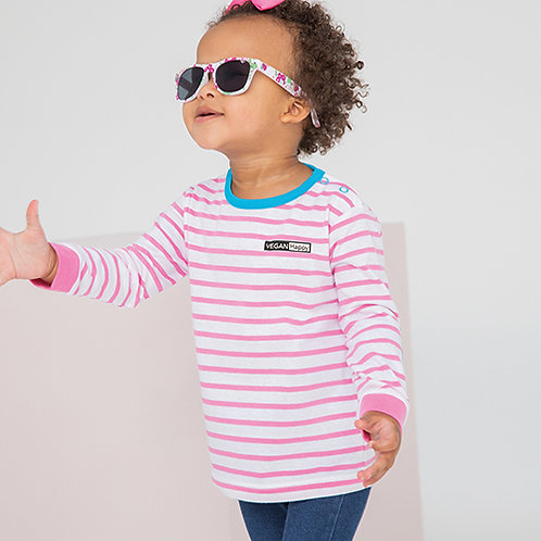 Vegan Babies Striped Long Sleeve T-Shirt with subtle logo from Vegan Happy Clothing in pink